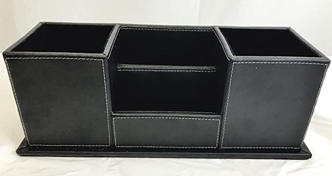 Artikle Leather Corporate ORGANIZED LIVING Desk Organizer Holder Office Pens Cellphone (Black)