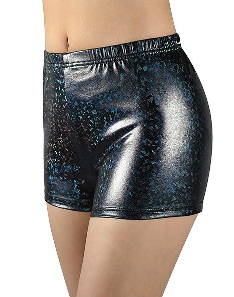 NIliker Women Leather Metallic Shiny Short