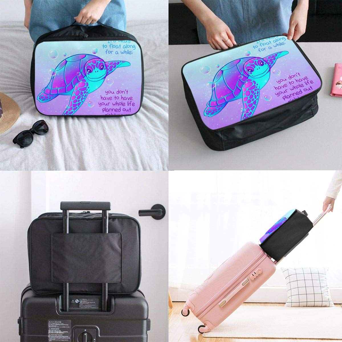 Funny Turtle Purple Travel Pouch Carry-on Duffle Bag Lightweight Waterproof Portable Luggage Bag Attach To Suitcase