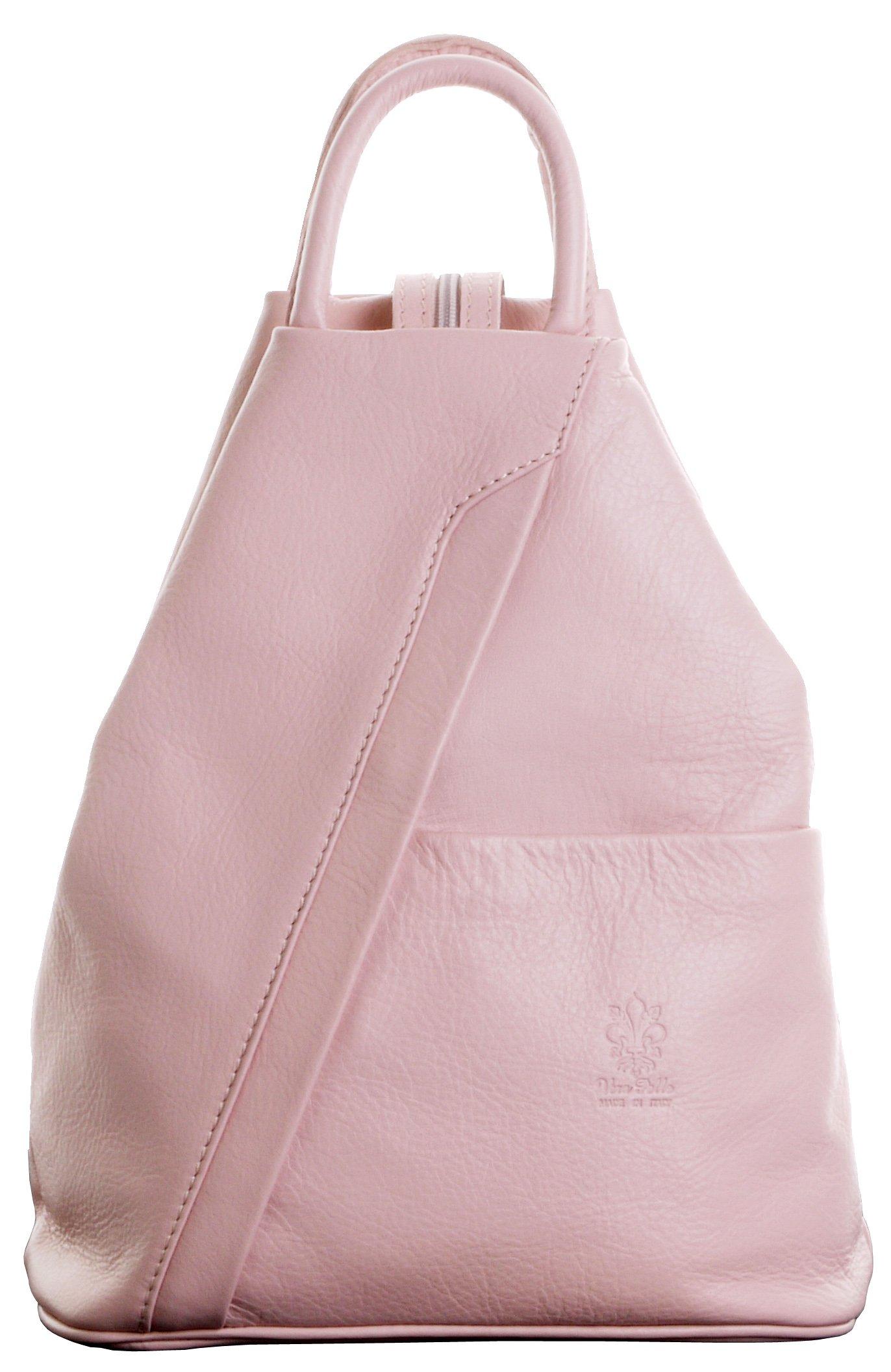 Italian Soft Napa Pink Leather Top Handle Shoulder Bag Rucksack Backpack. Includes Branded Protective Storage Bag by Primo Sacchi