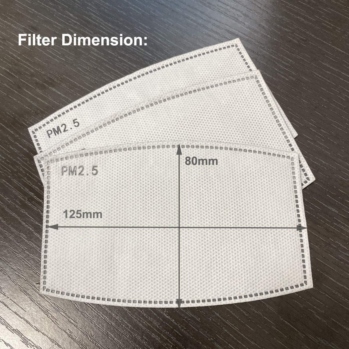 Filtre de Remplacement PM2.5 /à Charbon Actif 5 Couches filtres Anti-Brume pour Masques buccaux 4,9 x 3,1 cm