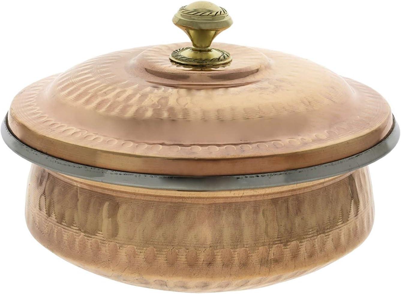 Parijat artisanale Vaisselle indienne Bol de service en cuivre Soupi/ère avec couvercle Contenance 700/ml