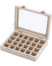 Ivosmart 24 Section Velvet Glass Jewelry Ring Display Organiser Box Tray Holder Earrings Storage Case (Black)