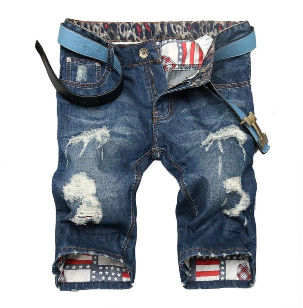 MR. R Men's Fashion Slim Fit Ripped Jean Shorts 13146 Blue 36