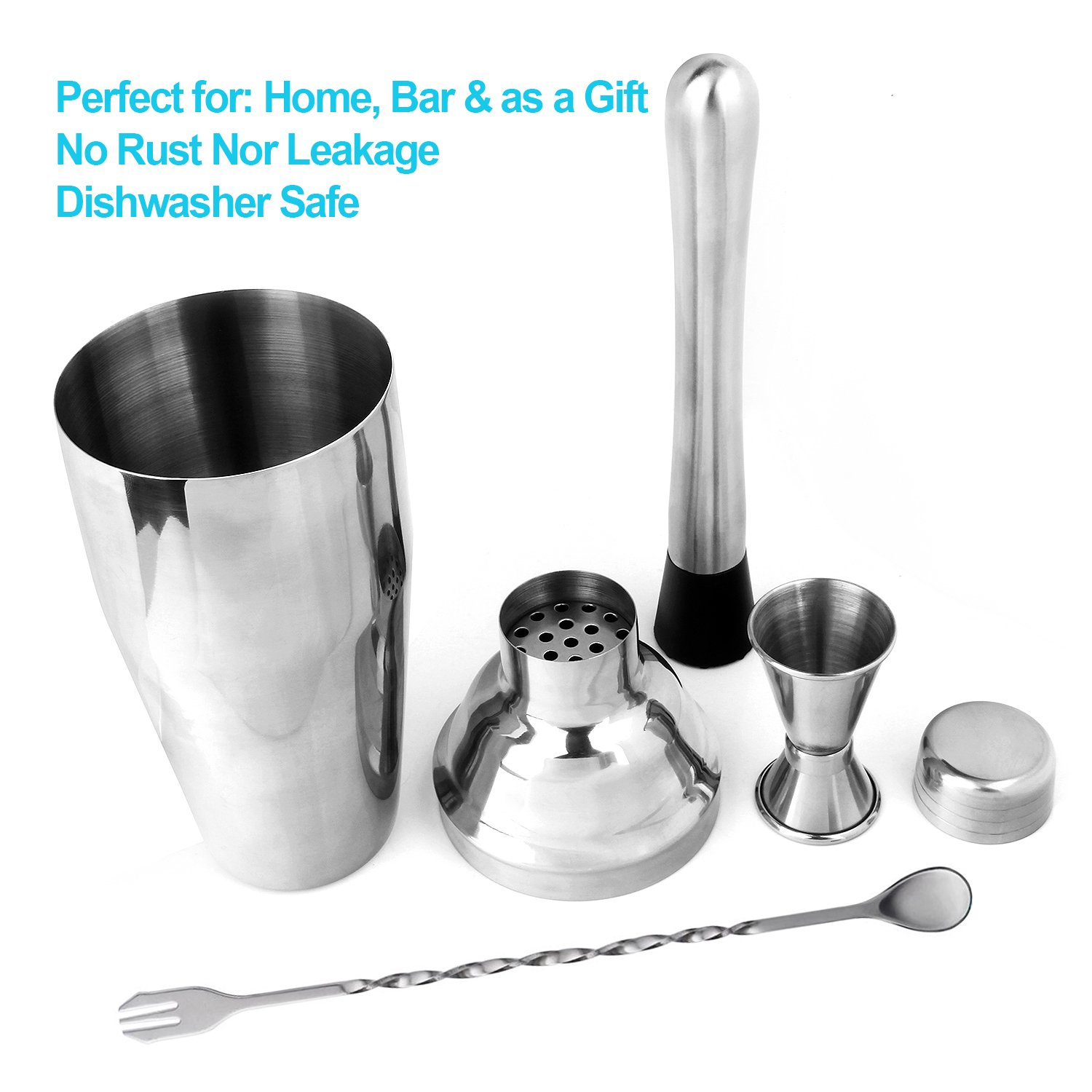 Cocktail Shaker Set by STONEKAE 24 oz Stainless Steel Cocktail Shaker with Strianer,Jigger,Muddler, Mixing Spoon,2 Pourers, Professional Kit Gift