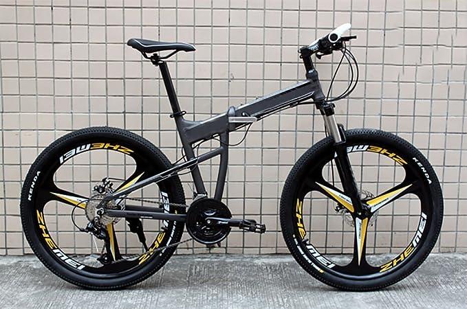 MASLEID Bicicleta de montaña de aluminio plegable de 27 motos deportivas de velocidad de 26 pulgadas , tuhao gold: Amazon.es: Deportes y aire libre