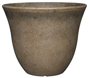 "GARDENGOODZ Honeysuckle Planter, Patio Pot, 13"" Fossil Stone"