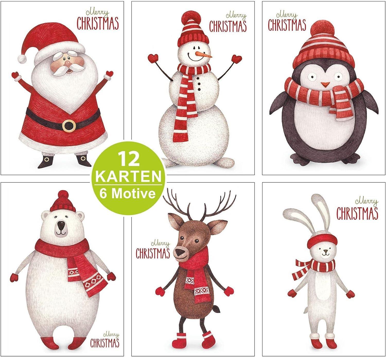 Freunde Kunden 15 Klappkarten /& 15 Umschl/äge Format 165 x 115 mm Kohmui Weihnachtskarten S/ü/ße Tiere Weihnachten Gru/ßkarten Weihnachtsgr/ü/ße Set mit Umschlag f/ür an Familie