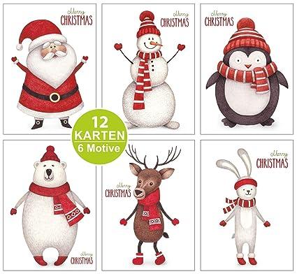 12 Tarjetas de Navidad, con tarjeta de Navidad, 6 motivos Post Set, inoxidable, Fein y no de la Editor s COLLECTION de artup