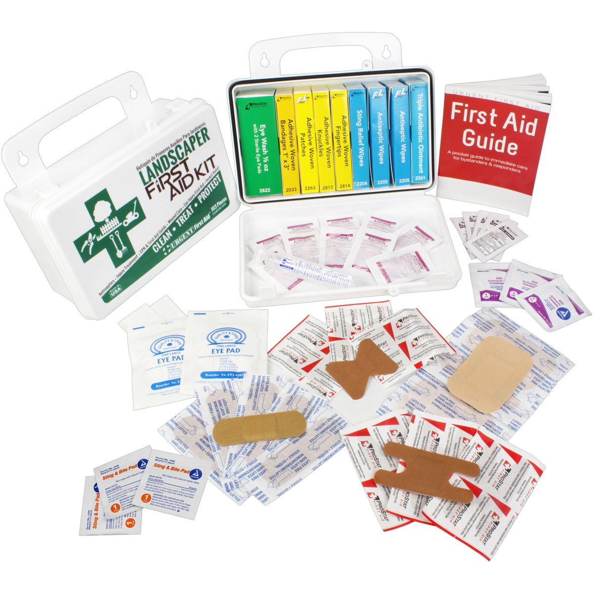 Landscaper & Tree Trimming First Aid Kit, OSHA Compliant, 10 Unit, 103 Piece, Plastic Case with Gasket to keep out moisture and dust - be OSHA Compliant: Special Extra first aid item content, too by Urgent First Aid (Image #2)