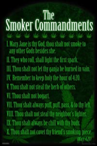 Pyramid America The Smoker Commandments Marijuana Weed Stoner 420 Funny College Cool Wall Decor Art Print Poster 24x36