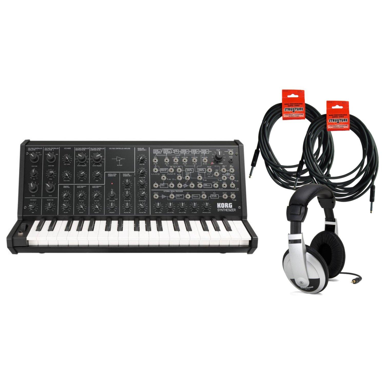 Korg MS-20 True Analog Mono Synthesizer USB MIDI w / (2) 18.6' Instrument Cables and Headphones