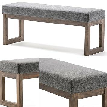 Amazon.com: Easy&FunDeals - Banco largo de madera con cojín ...