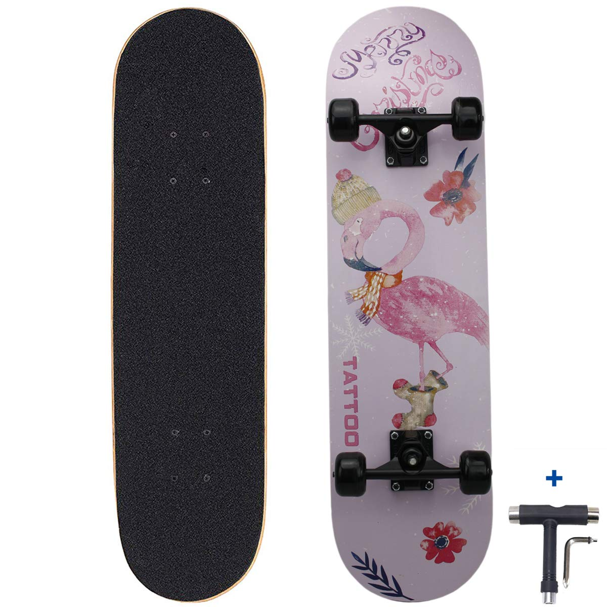 Dreambeauty 31 inch Pro Skateboard Complete,9 Layer Maple Wood Double Kick Concave Skateboards, Tricks Skateboards for Teens, Beginners, Girls, Boys, Kids, Adults (Flamingo)