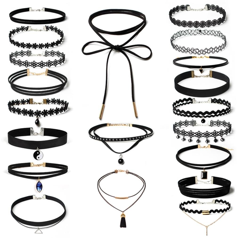 Quaanti 2018 choker necklaces crystal Women 20Pieces Choker Necklace Set Stretch Velvet Classic Gothic Tattoo Lace Choker (black)