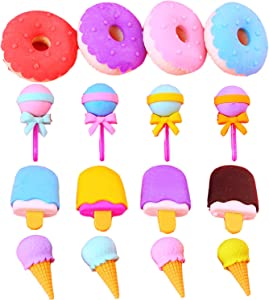 Erasers for Kids, Food Erasers Bulk, Cute Donut Ice Cream Lollipop Erasers, Children Gifts by HAGBOU (12)