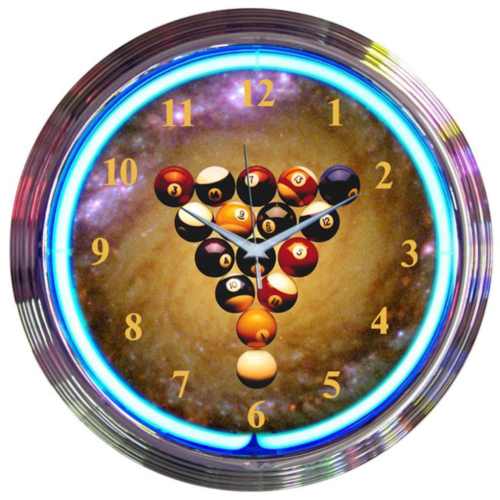 Neonetics Bar and Game Room Billiards Space Balls Neon Wall Clock, 15-Inch
