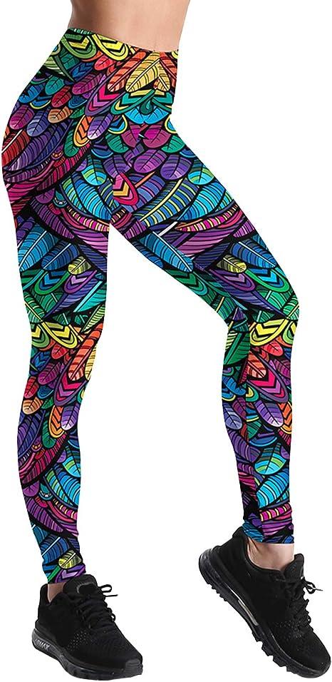 Leggings de yoga para mujer, adolescentes, niñas, con hojas altas, multicolor, pantalones de yoga, push up, mallas de cintura alta, leggins deportivos, pantalones de deporte, pantalones de yoga, pantalones de entrenamiento, Mujer