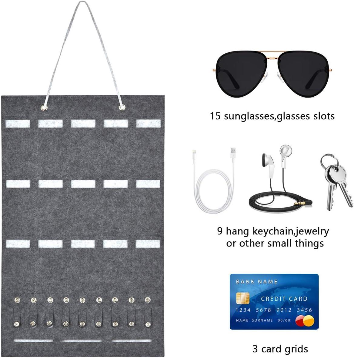 Bolsa de almacenamiento de gafas de sol para colgar en la pared con 9 Ranuras para Ilaves Auriculares 15 Ranuras para Colgar Gafas Llaves Bolsa de Fieltro para Gafas
