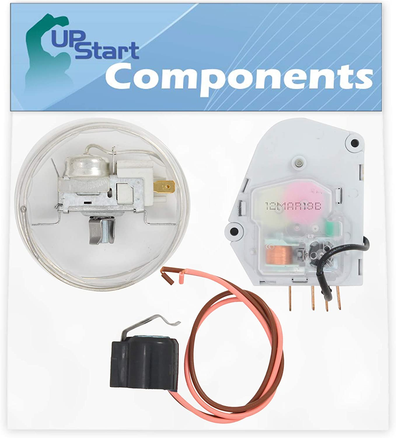 2198202 Cold Control Thermostat, W10225581 Defrost Thermostat & W10822278 Defrost Timer Replacement for Estate TS25AEXHW01 Refrigerator - Compatible with WP2198202, W10225581 & W10822278