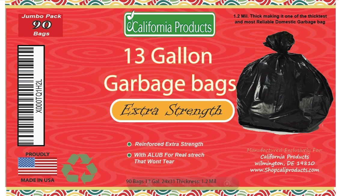 13 gallon Durable Trash Bags - Hefty + Flex - For Kitchen, Cars, Bathroom and Home Use - Rip + Tear Resistant - USA made by California Products
