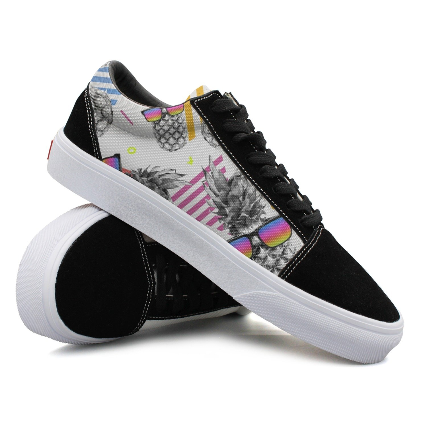 Awesome Style Pineapple With Vintage Eye Glasses Women Casual Sneakers Skateboard Slip On Cute Vegan