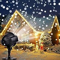 LED Proyector Luces de Navidad – CroLED Lámpara de Proyección LED Nieve Luz Decrativa con Control Remoto Impermeable Iluminación de Jardín para Fiesta Boda Celebraciones Pared Decoración Exterior