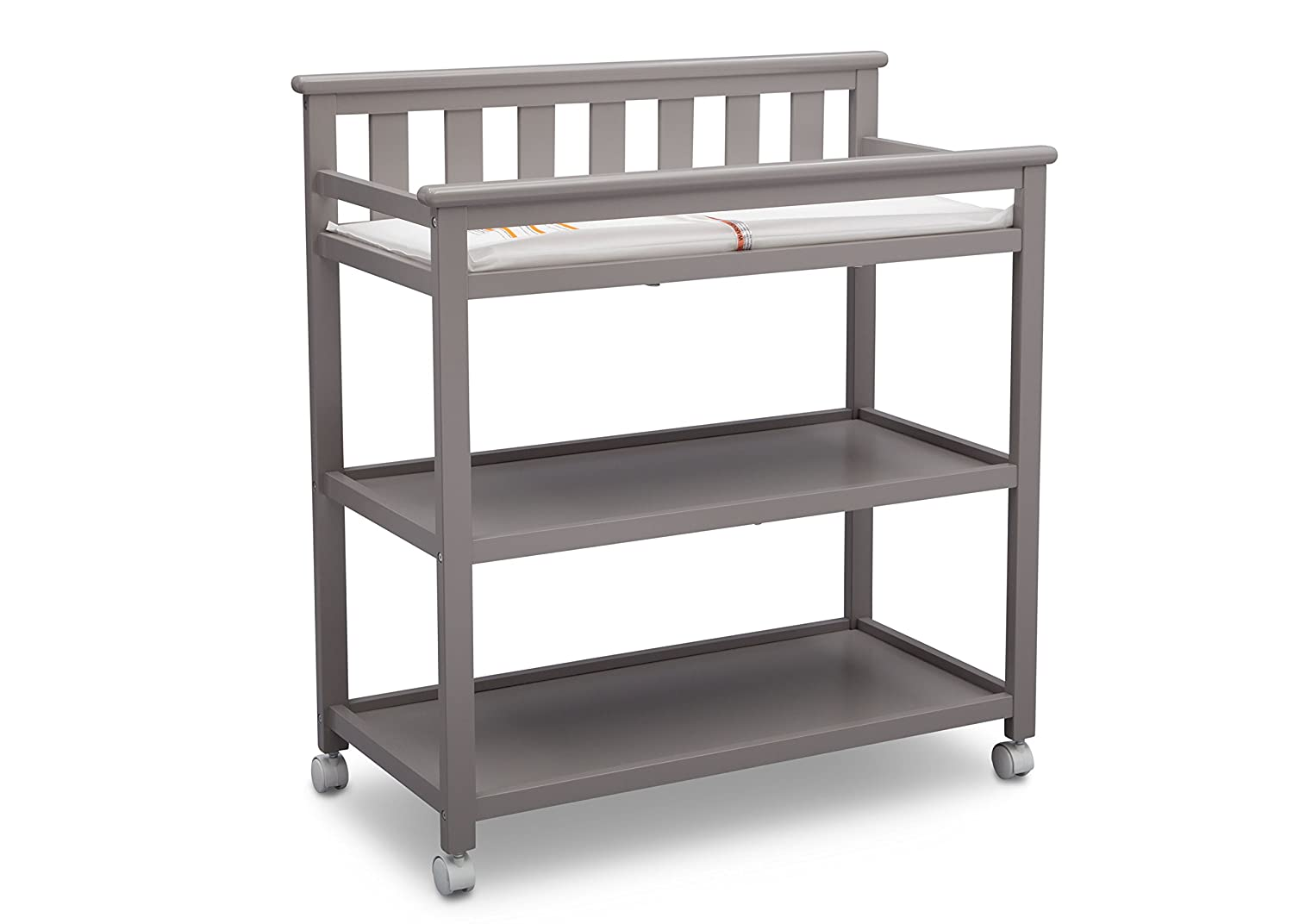 Amazon.com : Delta Children Flat Top Changing Table With Casters, Grey :  Baby