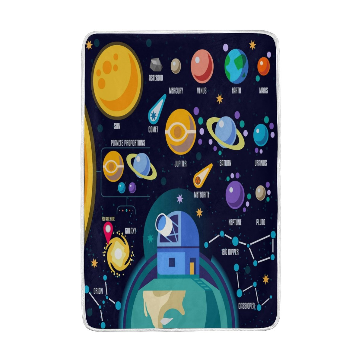 ALAZA Home Decor Space 3D Galaxy Solar System Soft Warm Blanket for Bed Couch Sofa Lightweight Travelling Camping 90 x 60 Inch Twin Size for Kids Boys Women