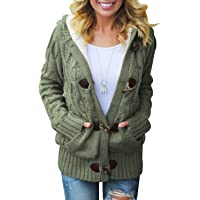 Actloe Women Front Button Hooded Sweater Outwear Cable Knit Long Sleeve Cardigan with Pocket
