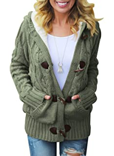 1506fd33f268 Sidefeel Women Button Up Cardigan Knit Hooded Cable Sweater Coat Outwear