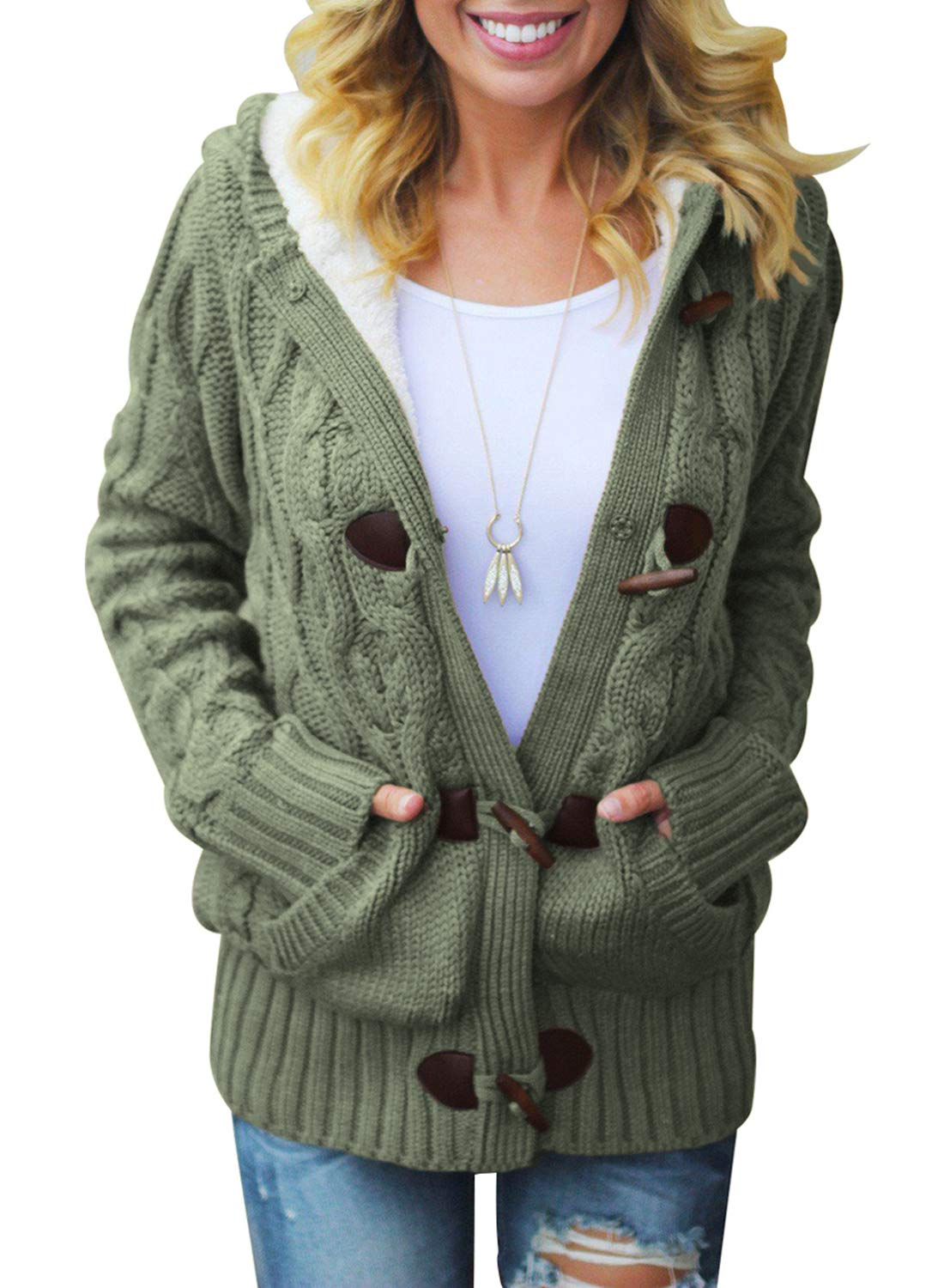 SIDEFEEL Women Cable Hooded Cardigan Sweater Coat Button Up Outwear with Pockets X-Large Amy Green by SIDEFEEL