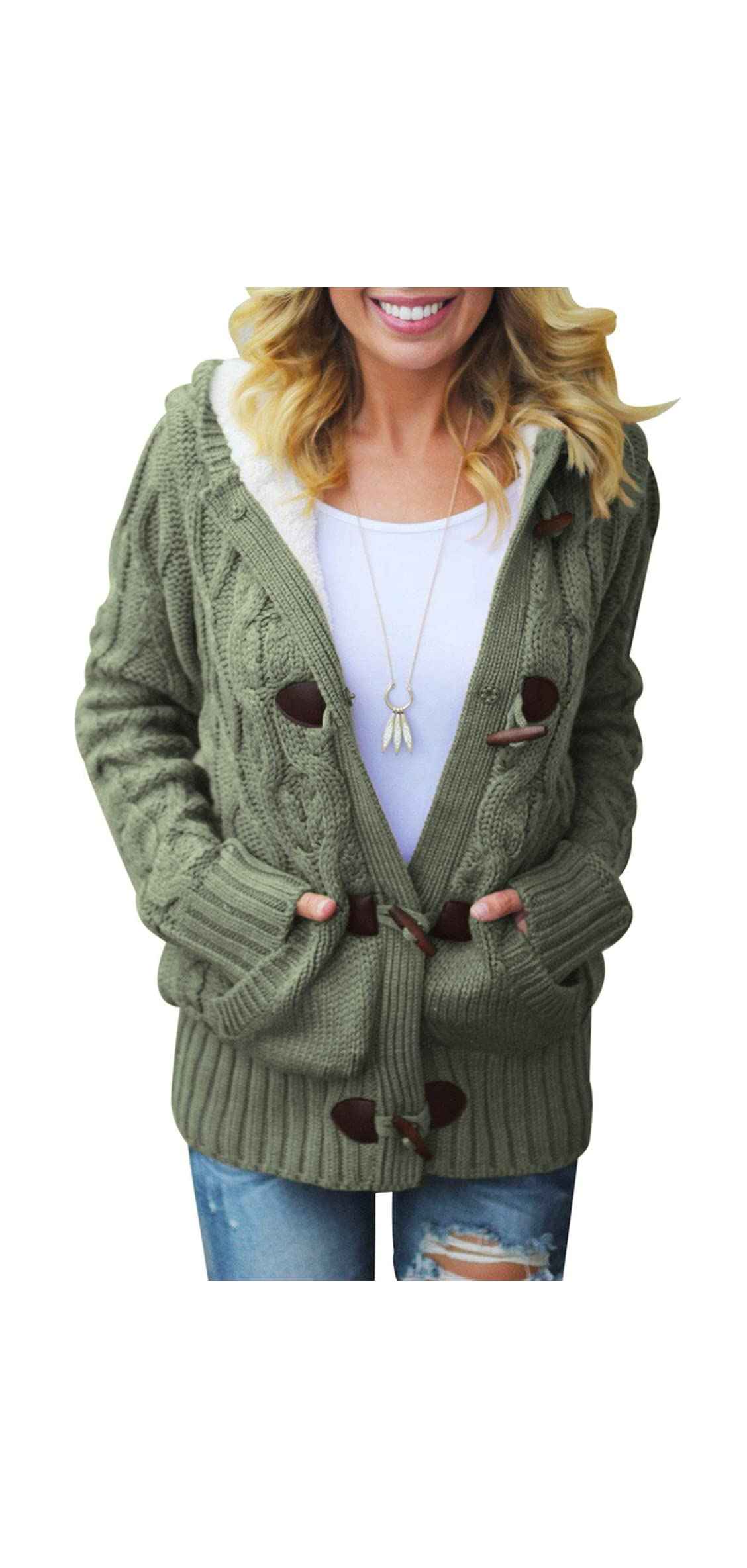 Women Button Up Cardigan Knit Hooded Cable Sweater Coat