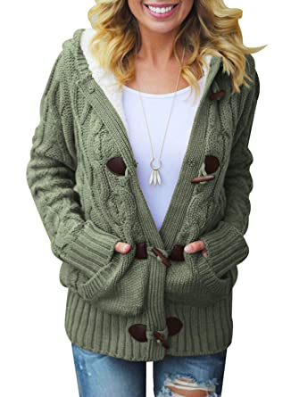 b67f8fe3cfb033 Sidefeel Women Button Up Cardigan Hooded Sweater Coat Small Amy Green