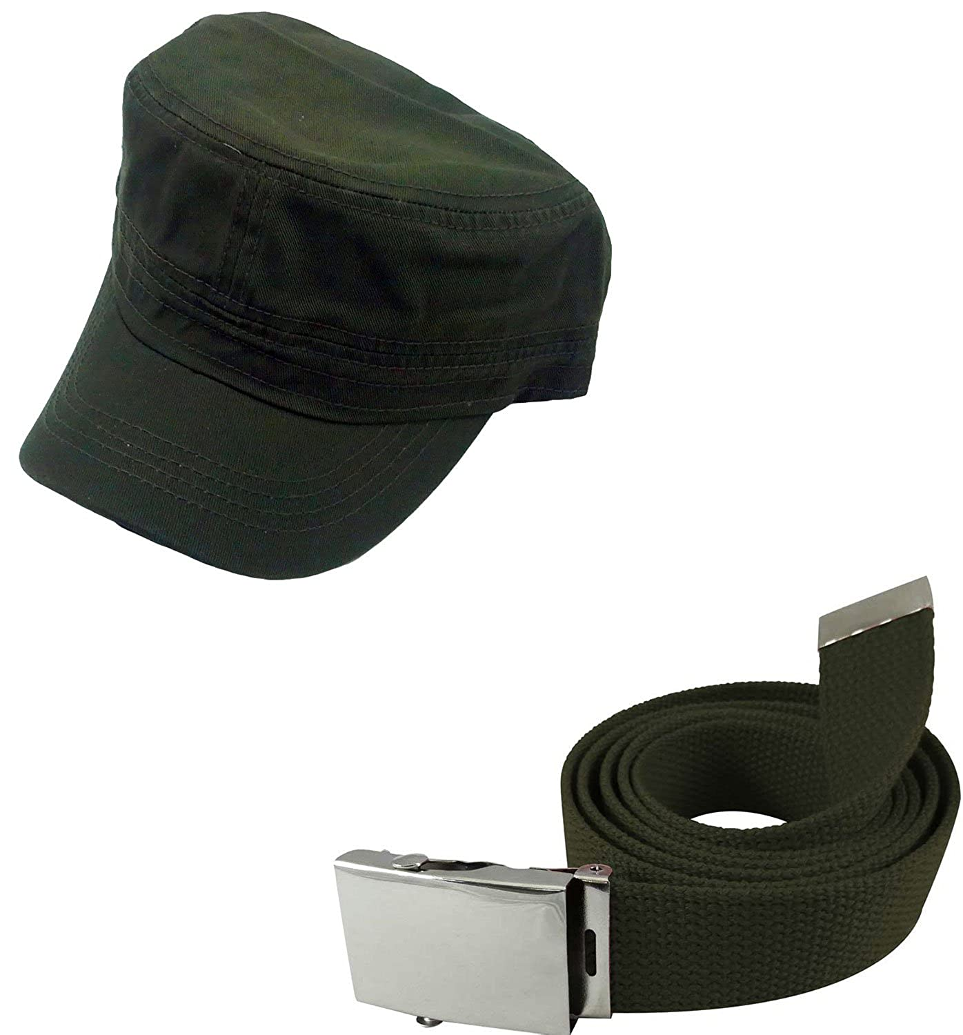 Enimay Military Hat and Canvas Belt Bundle Silver Buckle Brown at Amazon  Men s Clothing store  320ad4b7af4