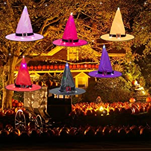 Halloween Decorations Witch Hat Outdoor, Oasisblossom 6Pcs Hanging Lighted Glowing Witch Hats, LED Lighted Witch Hats String Light Decor Battery Operated Halloween Decor for Outdoor, Yard, Tree, Party