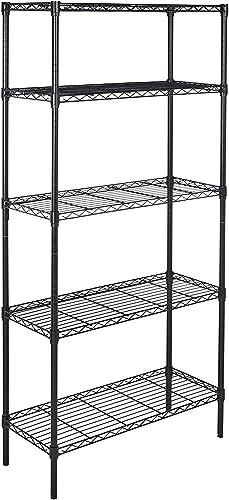 AmazonBasics 5-Shelf Adjustable, Heavy Duty Storage Shelving Unit 350 lbs loading capacity per shelf , Steel Organizer Wire Rack, Black, 36L x 14W x 72H
