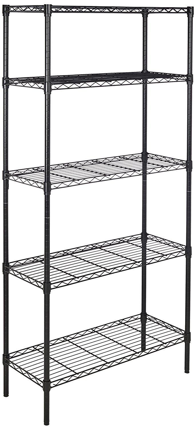 Amazonbasics Height Adjustable 5-Shelves Heavy Duty Rack - Black