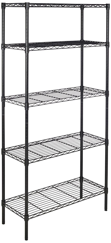 Amazon Basics 5-Shelf Adjustable, Heavy Duty Storage Shelving Unit (350 lbs loading capacity per shelf), Steel Organizer Wire Rack, Black,(36L x 14W x 72H)