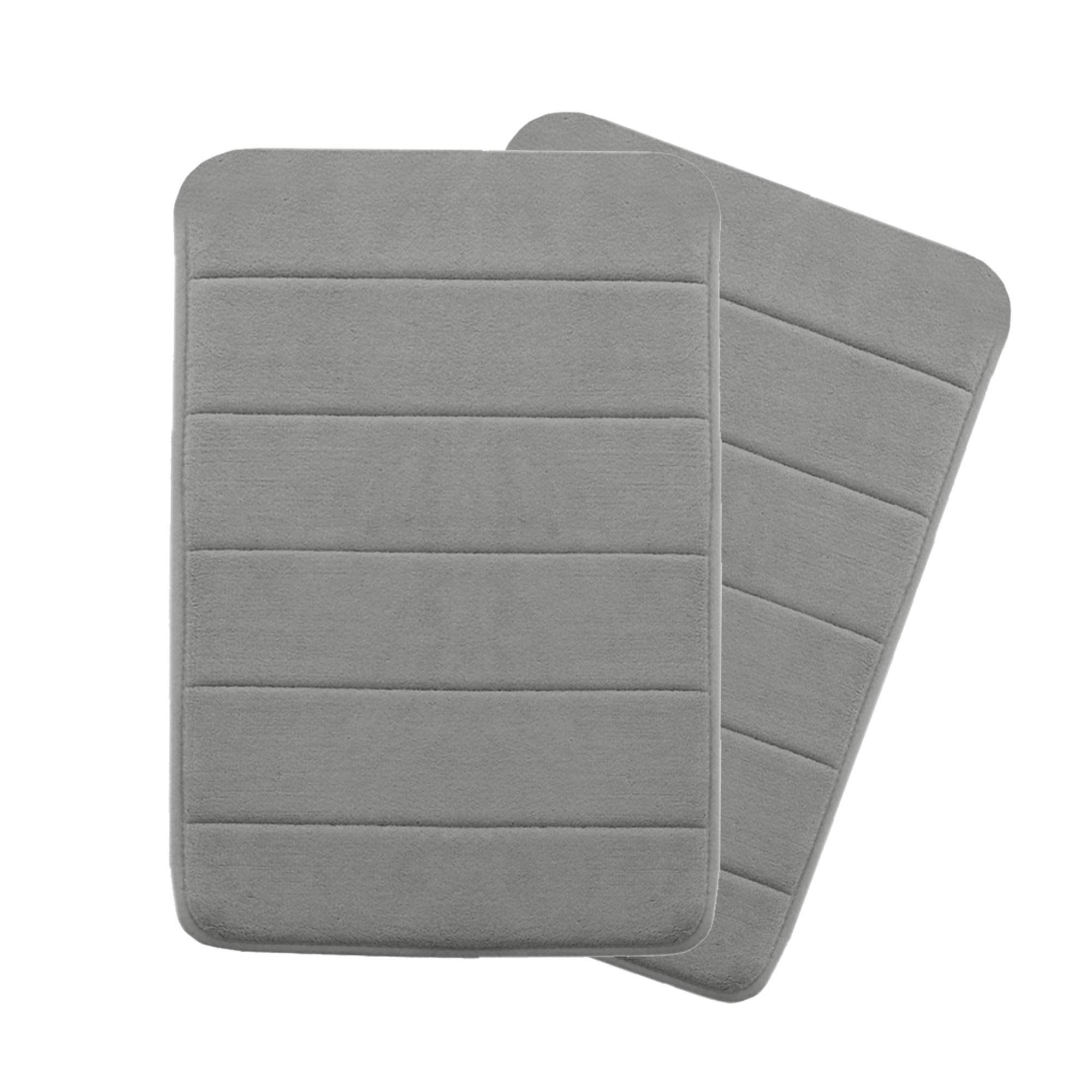 Ordinaire Memory Foam Coral Velvet Non Slip Bathroom Mat/Bath Rug, 17W X 24L Inches  Two Pieces (Gray Striped Pattern)