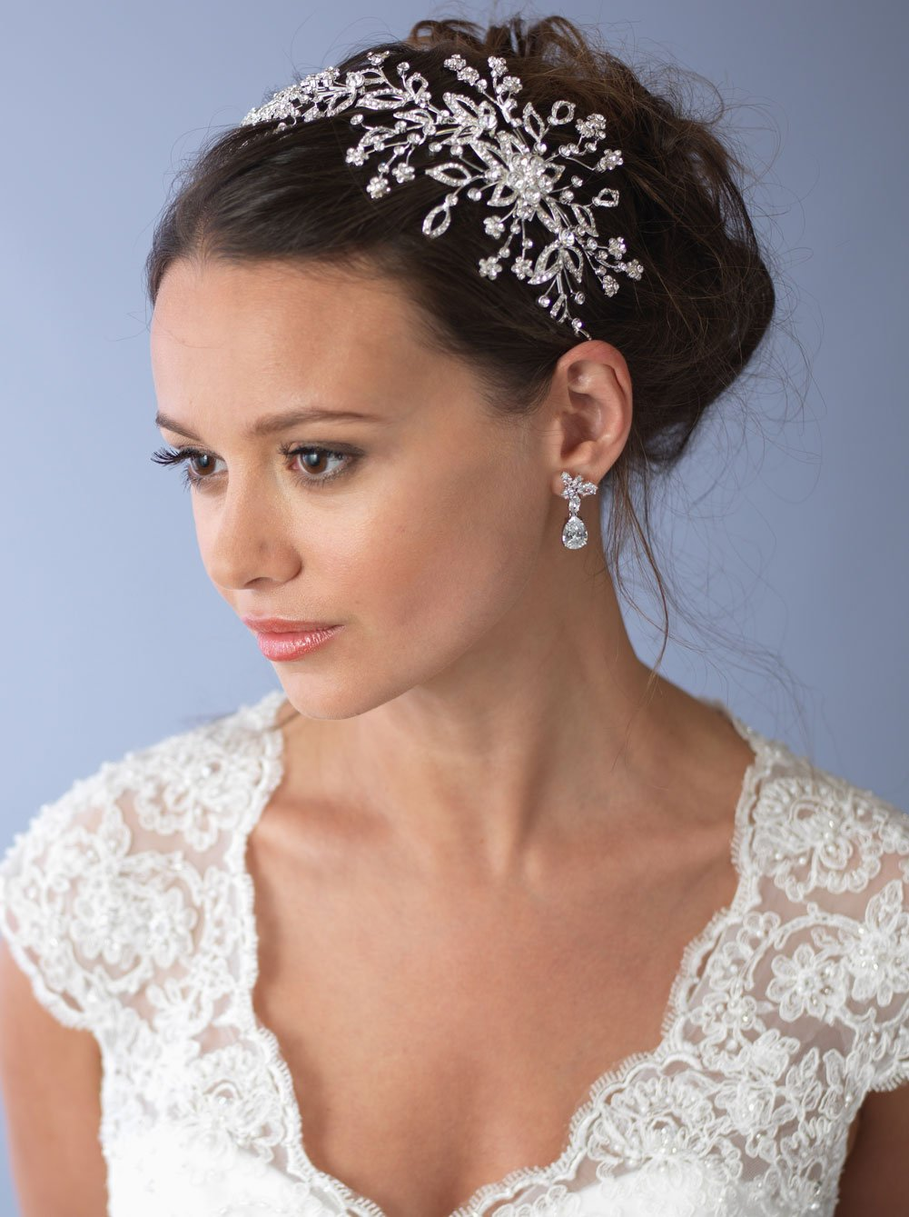 USABride Silver-Plated Floral Detail Side Headband, Wedding Headpiece 3244