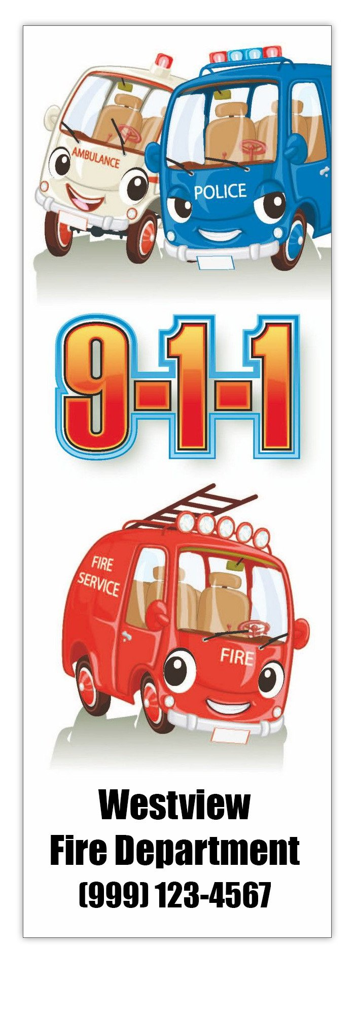 911 Bookmarks in Bulk (Qty of 250) - Promotional Item - Customize with your Information - Great for Mailings