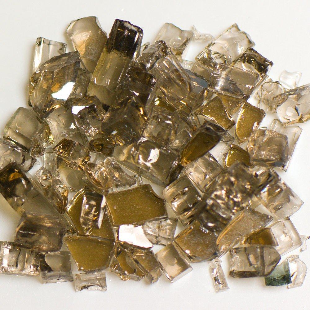 My Fireplace Glass - 50 Pound Terrazzo Chip Fireplace Glass - Size 2, 1/4 - 3/8 Inch, Bronze Reflective