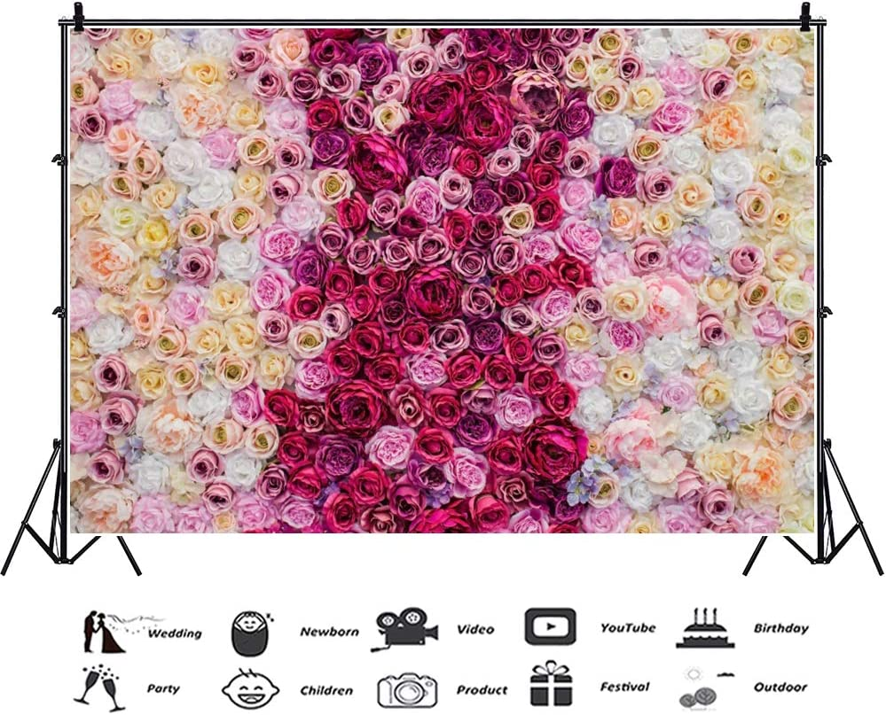 Laeacco Rose Floral Wall Backdrop 10x6.5ft Vinyl Photography Background Red White Pink Flowers Wedding Couple Lover Newborn Girls Personal Portraits Shoot Wallpaper Studio Video Photo Props