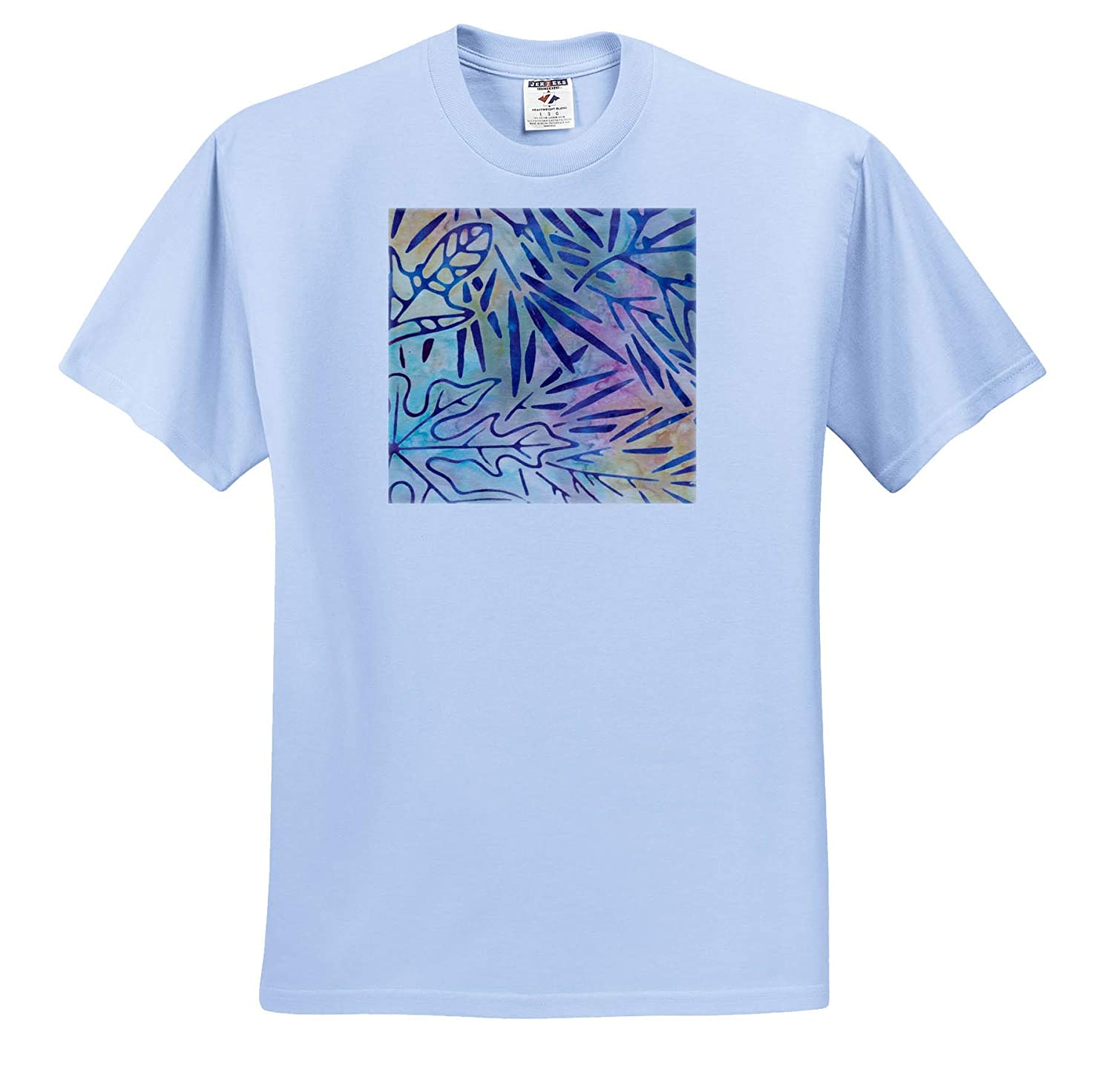 Blue Leaves On Pink Green Patterns Yellow an Image of Watercolor Batik T-Shirts 3dRose Anne Marie Baugh