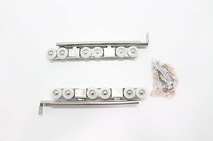 Guías con ruedas para puertas de armario, 16 cm, acero inoxidable, 2pcs