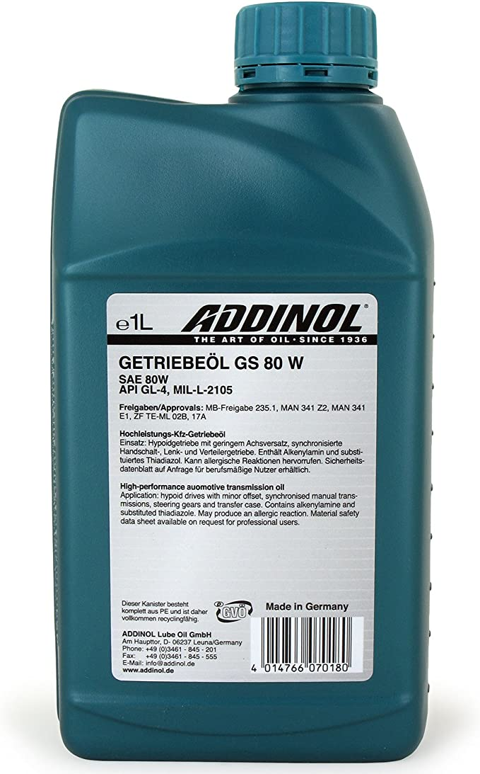 Addinol GetriebeÖl Gs 80 W 1 Liter Auto