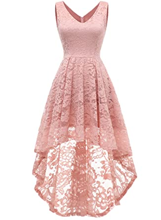 6c05cad94db593 MUADRESS 6666 Sleeveless Hi-Lo Lace Formal Dress Cocktail Party Dress V  Neck XS Blush