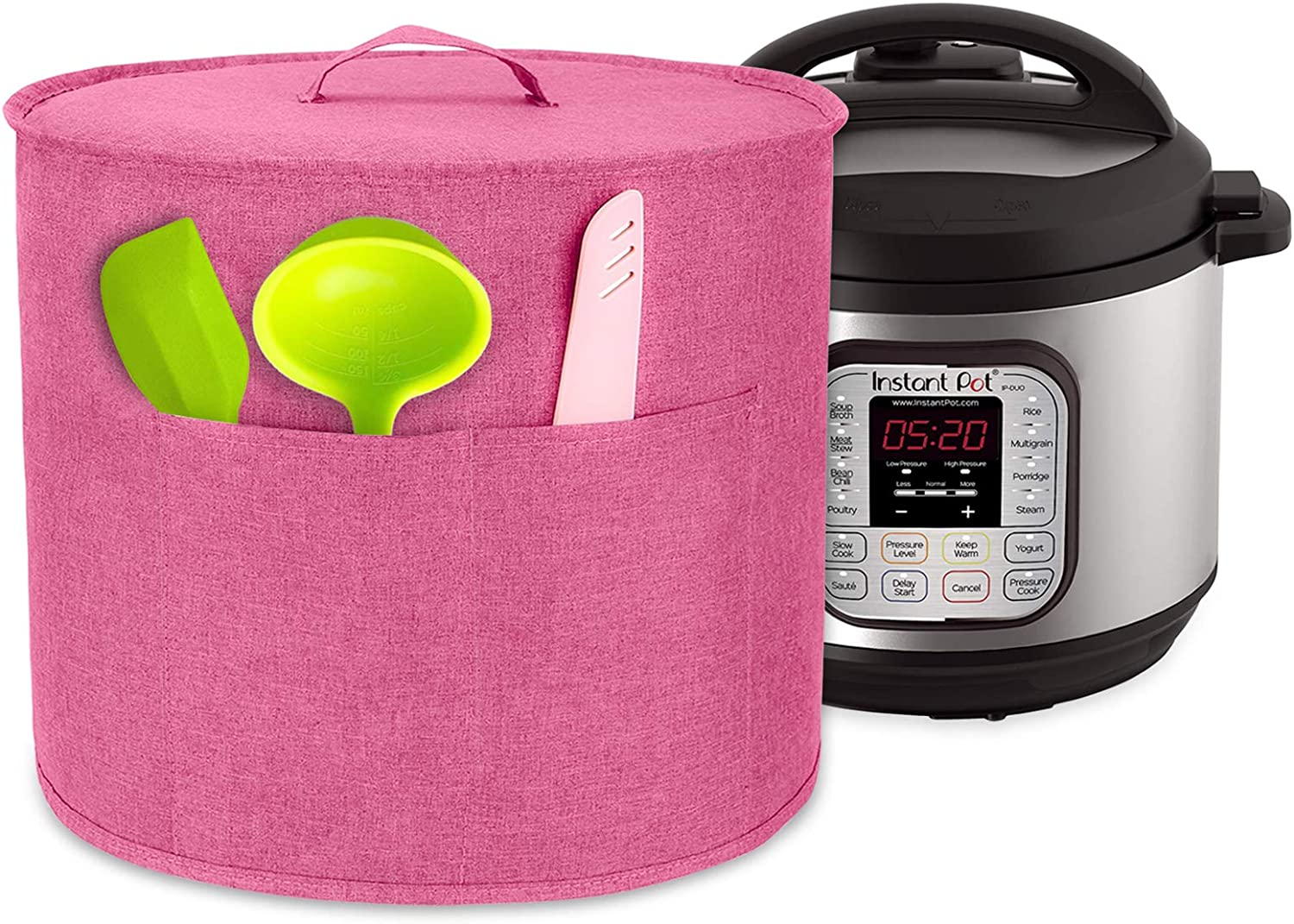 Luxja Dust Cover for 8 Quart Instant Pot, Cloth Cover with Pockets for Instant Pot (8 Quart) and Extra Accessories, Pink (Large)