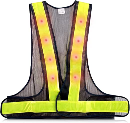 Outdoor Wireless Reflective Vest Bicycle LED Safety Warning Hiking Camping Vest